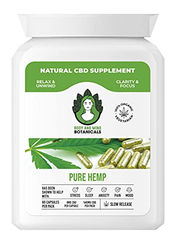 Organic Pure Hemp CBD Capsules - 60caps - 540mg CBD - Plant Based CBD New to Amazon