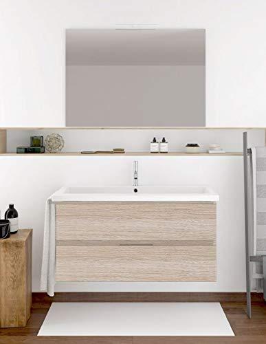 PDM Mueble de baño suspendido con Lavabo y Espejo Modelo Mizar en Arena