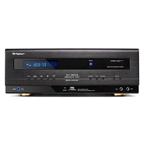 Auna AV1-4800 Amplificador y Receptor 5.1 - subwoofer Activo , 1.000 W , USB , SD , MP3 , 2 entradas Frontales para micrófono , Radio FM/Am , Mando a Distancia , Ecualizador , Negro
