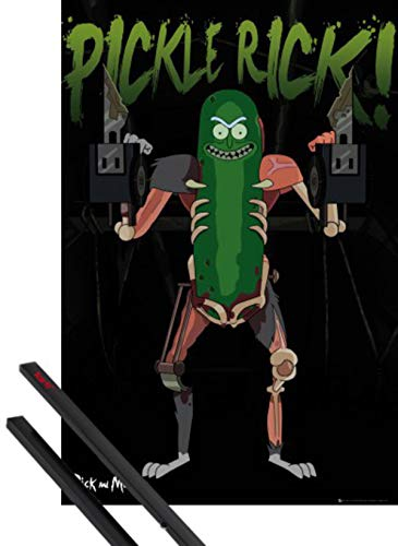1art1 Rick Y Morty Póster (91x61 cm) Pickle Rick, Rickinillo con Disfraz De Rata Y 1 Lote De 2 Varillas Negras 1art1®