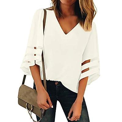 Women's V Neck Mesh Panel Blouse 3/4 Bell Sleeve Loose Top Shirt