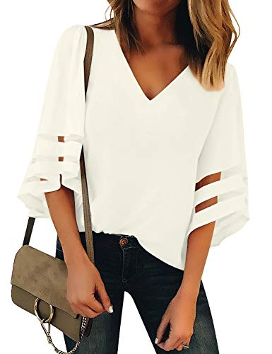 LookbookStore Women's Beige V Neck Casual Mesh Panel Blouse 3/4 Bell Sleeve Solid Color Loose Top Shirt Size M(US 8-10)