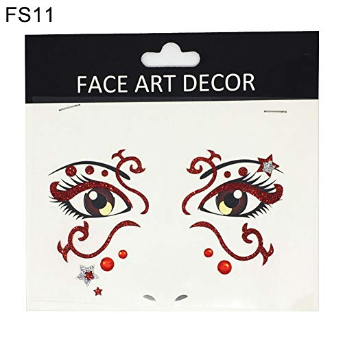 Danigrefinb Face Decor Glitzer temporäre Tattoo Aufkleber Halloween Party Stage Make-up Prop