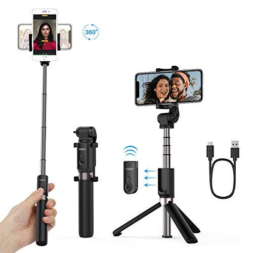 mejores Palos Selfie Yoozon Palo Selfie Trípode Bluetooth,Mini Selfie Stick Bolsillo para Autofoto.Extensible de Control Remoto Monopié inalámbrico 3 en 1.Rotación 360 Grados para teléfonos Inteligentes iPhone y Andriod