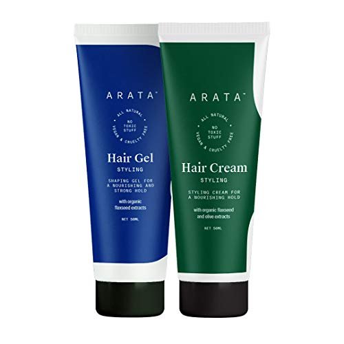 Arata Natural Curl defining Hair Styling Combo with Hair Gel & Hair Cream for Women & Men || All Natural,Vegan & Cruelty Free || For Nourishing,Styling & Strong Hold (100 ml)