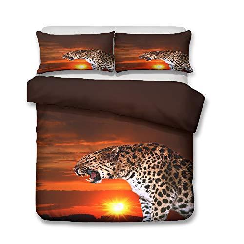 QWER - Juego de ropa de cama con estampado de leopardo, funda nórdica de microfibra suave reversible (A2,140 x 210 cm + 50 x 75 cm x 2)