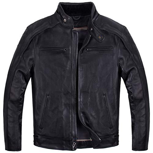 Mens Chopper Harley Motorrad-echte Leder-Jacke Outdoor-Herren Schwarz Top Motorrad Schädel Jacke Racing Biker Coat Slim-Fit Leger,Black-XXXL