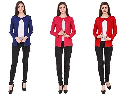 Kiba Retail Women'S Full Sleeve Front-Open Solid Viscose Shrug (Color-Royal...