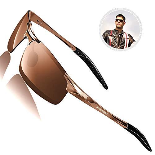 ROCKNIGHT Sports Sunglasses Men Polarized UV Protection Motorcycle Bike Brown