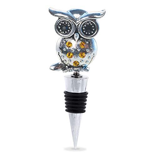 Cheers Owl Metal Wine Stopper - Elegant Vacuum Seal Reusable Bird Wild Life Animal Wine Bottle Stopper, Airtight Leak Proof Bottle Topper Cork Plug, Cute Home Decor & Bar Tool Accessory Unique Gift