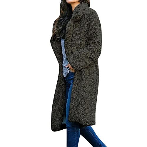 BIBOKAOKE Abrigo largo de invierno para mujer, parka, abrigo de lana, gabardina, abrigo de felpa, chaqueta de forro polar, chaqueta larga, cárdigan, chaqueta de entretiempo, Grau15., M
