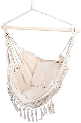 Bcaer Hängesessel, Sitz Wiege Stuhl Baumwolseil Gartenkissen gewebt Stuhl hängenden Korb hängen,Beige