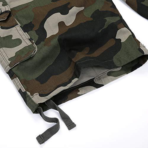 IDEALSANXUN Men's Casual Loose Camouflage Military Twill Cargo Shorts (Green camo, 40)