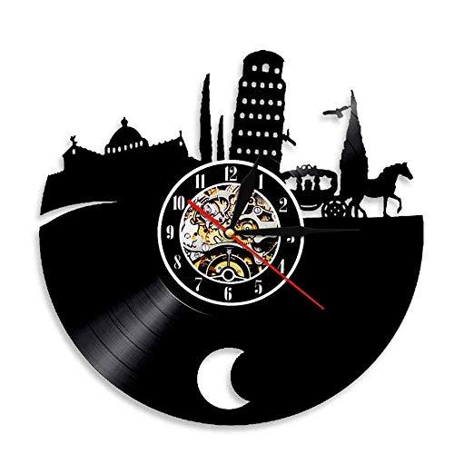 LED Reloj de Cola Negra Pizza Record Pendiente Torre Reloj de Pared Arte de Pared Reloj de Pared Paisaje de la Ciudad Reloj de Pared