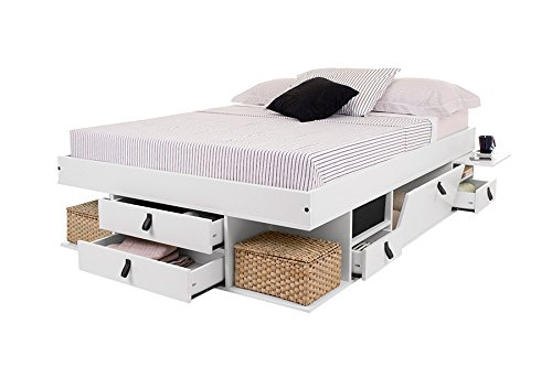 Funktionsbett Bali 160x200 - Bett mit viel Stauraum und Schubladen, optimal für kleine Schlafzimmer - Modernes Stauraumbett aus Kiefer Massivholz Weiss lackiert - Preis inkl. Lattenrost