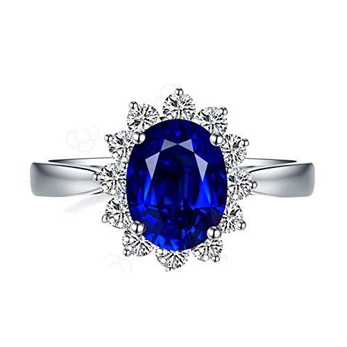 Beydodo Anillo de Compromiso Oro Blanco 18k(750) Mujer Flor con Oval Zafiro Azul Blanco 1.7ct Anillo Talla 16