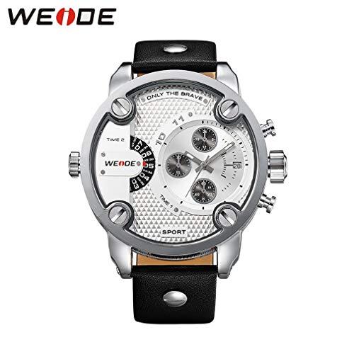 002fr WEIDE WH3301 wasserdichte Uhren Echtes Lederarmband Doppelquarzwerk