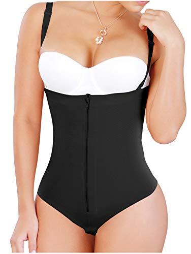 Salome 0212 Fajas Tanga Colombianas Reductoras y Moldeadoras Shapewear Thong for Women Body Shaper Black M