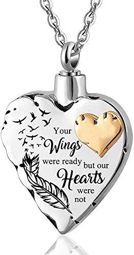 Colgante de acero Recuerdo conmemorativo Letras Cremación Joyas Titular de cenizas Mascota Acero inoxidable Memorial Ceniza Urna Collar Pata Corazón Alas de ángel