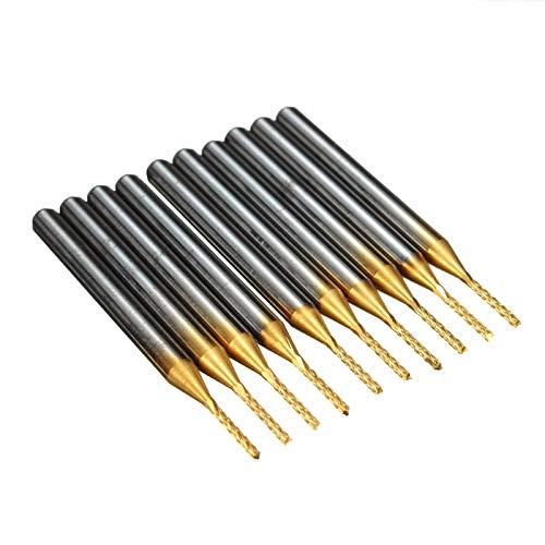 RanDal Db-P4 10 Stücke 1,0 Mm Hartmetall Leiterplatten-bits 1/8 Zoll Schaft Titan Beschichtete Schaftfräser Gravur Bits