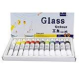 CXZC 12 colores de cristal, juego profesional de colores, pintura acrílica no tóxica para vidrio, pinturas multisuperficies satinadas y rico pigmento (12 x 12 ml)