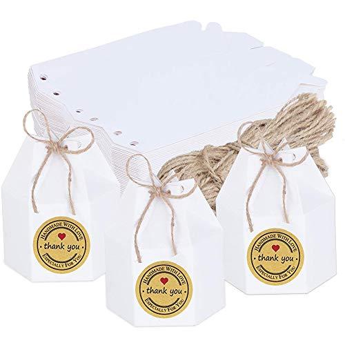 50 Piezas Caja de Dulces de Papel, Cajas de Regalo de Papel Marrón, Cajas de Regalo Pequeñas, Viene con Cuerda y Pegatinas, para Recepción Boda, Fiesta Cumpleaños, Fiesta Compromiso (Blanco)