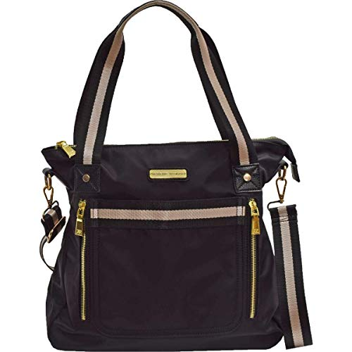 Adrienne Vittadini Womens Convertible Every Day Tote Handbag Black Large