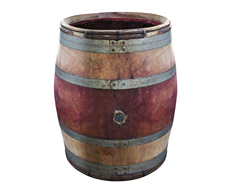 Temesso Regentonne, Regenfass altes Weinfass - tolle rustikale Gartendekoration Bordeaux Rustique schmales Modell (Bordeaux Rustique OHNE Deckel)