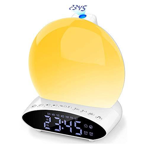 Digital Lichtwecker, Wake Up Licht Wecker mit Projektion, USB Sonnenaufgang Sonnenuntergang Simulation Nachtlicht, Digitaluhr mit 20 Helligkeit/2 Alarmen/7 Farben Licht/FM Radio/Snooze