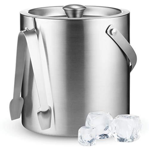 Doppelwandiger Edelstahl-Eiseimer mit Deckel und Eiszange [3 Liter] inklusive Sieb hält Eis kalt und trocken, komfortabler Tragegriff, ideal für Zuhause, Bars, Champagner und Wein