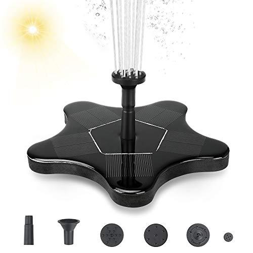 yidenguk Solarbrunnen mit 1,4 W solarbetriebener Springbrunnenpumpe für Vogeltränke, Solarpanel, Mini-Wasserbrunnenpumpe für den Außenbereich, Teich, Pool, Garten, Aquarium, Aquarium