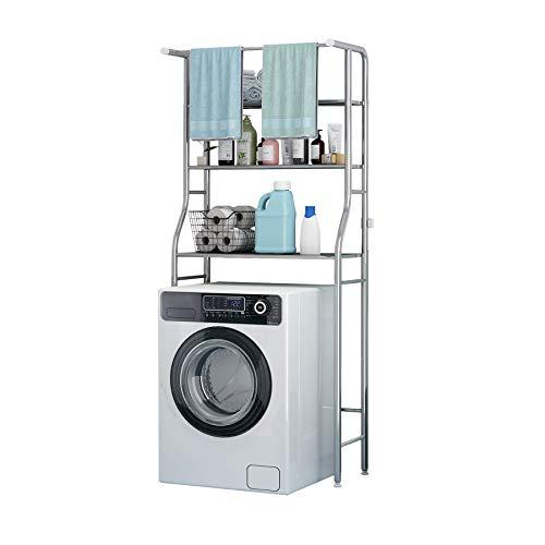 UDEAR Badezimmer Platzsparer, über dem Waschmaschinenregal, 3 Regal Badezimmer Eckständer Aufbewahrungsorganisator, mit Hängestange, Badezimmer Turm Regal, Rostfreier Stahl