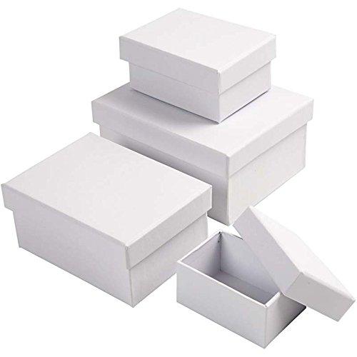 Mehrzweck-Geschenkschachteln, rechteckig, zum Basteln, Größe 5 x 7, 5 + 7 x 9,5 cm, Größe 8,5 x 11,5 + 11 x 14 cm, weiß, 4 verschiedene Größen, H: 3,5 + 4,5 + 5,5 + 6,5 cm