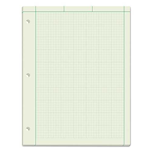 "TOPS Engineering Computation Pad, 8-1/2"" x 11"", Glue Top, 5 x 5 Graph Rule on Back, Green Tint Paper, 3-Hole Punched, 100 Sheets (35500)"
