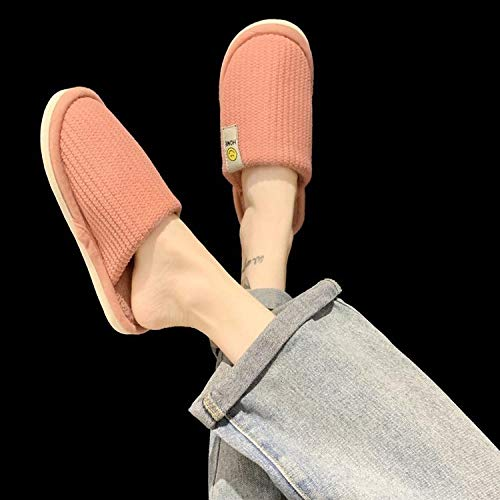 Slippers Suave Algodón Zapatilla Pareja Zapatos,Warm Indoor Plush Slippers, Breathable Thick-Soled Couple Cotton Slippers-Pink_36,Caliente Forro Pantuflas