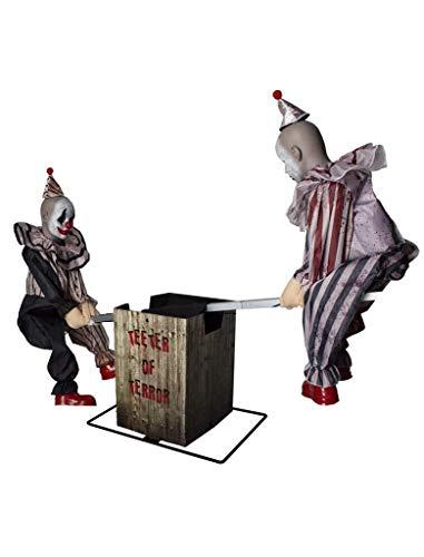 2 payasos con diseo de payaso sobre balancine, decoracin especial para Halloween