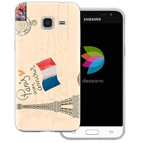 dessana - Custodia protettiva trasparente per Samsung Galaxy J3 (2016) Cartolina Parigi