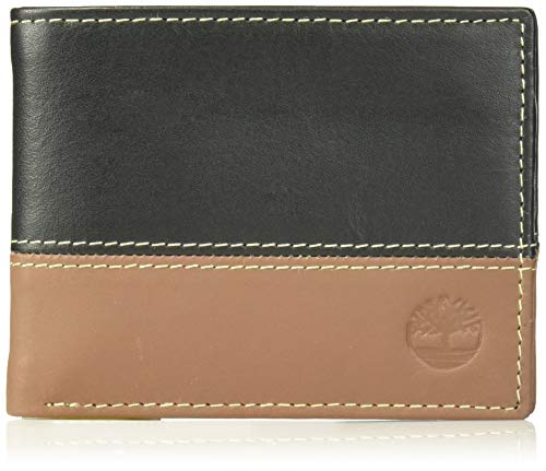 Timberland Men's Leather Passcase Trifold Wallet Hybrid, Black/Cognac, One Size