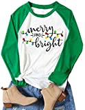 Christmas Tshirt Women Merry and Bright Shirt Letters Print Splicing 3/4 Sleeve Baseball Tshirt Blouse Tee Tops (Green, Small)