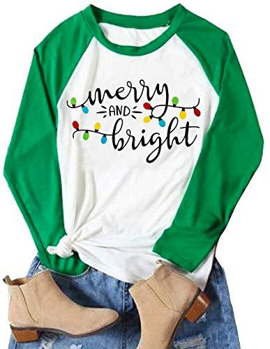 Christmas Tshirt Women Merry and Bright Shirt Letters Print Splicing 3/4 Sleeve Baseball Tshirt Blouse Tee Tops (Green, XX-Large)