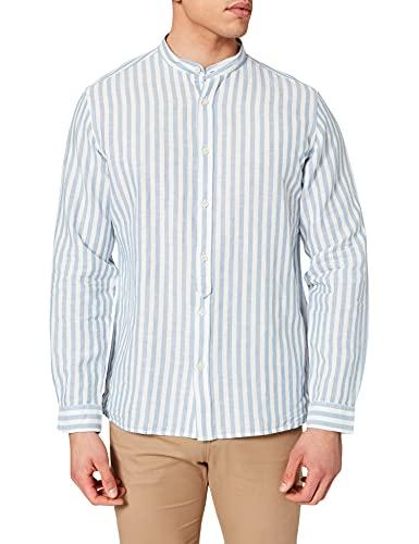 Springfield Linen Mao Stripe Camisa, Azul Medio, L para Hombre