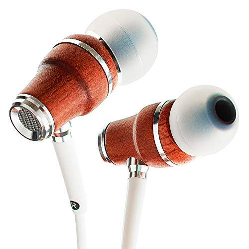 Symphonized NRG X IN Ear KOPFHÖRER - Premium Ohrhörer aus edlem Holz, Mikrofon und Lautstärkeregler - Geräuschisolierende Ohrstöpsel für Zuhause und Unterwegs (Weiss)