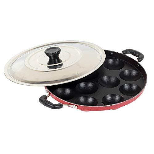 DALUCI Aluminium Non Stick 12 Cavities Appam Patra/Paniyarrakal/Paniyaram/Appam Pan/Maker/Pan Cake Maker with Lid 24 cm