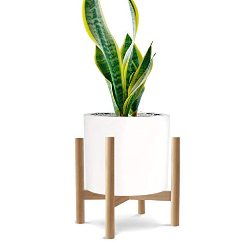 Honest Mid Century Modern Wood Indoor Plant Stand,(Plant and Pot NOT Included) Rustic Wood Flower Pot Holder, (Fits Pots:8'-10',Dark Brown)
