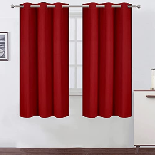 LEMOMO Red Blackout Curtains 42 x 63 Inch/Red Curtains Set of 2 Panels/Room Darkening Bedroom Curtains