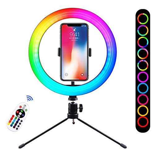 MZBZYU Anillo De Luz con Trípode 10' Luz De Anillo LED Aro De Luz RGB para Movil Selfie Maquillaje Fotografía