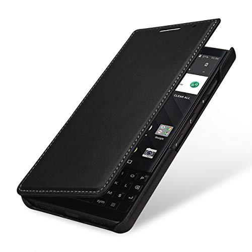 StilGut Book Type Lederhülle für BlackBerry Key2. Seitlich klappbares Flip-Hülle aus Echtleder, Schwarz Nappa