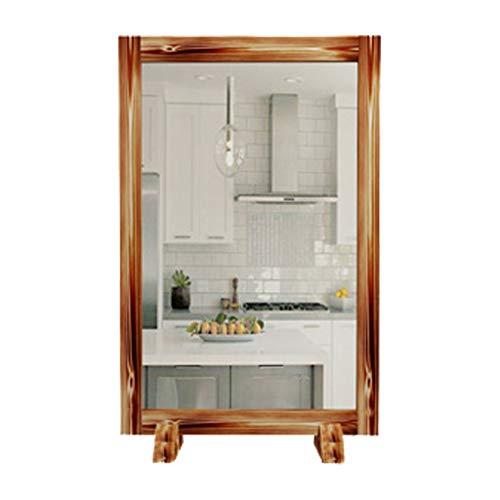 Miroir de Coiffeur rétro en Bois Massif Simple côté Double Face Miroir Mural de Salon de Coiffure Convient pour Salon de Coiffure, Salon de l'hôtel, etc.