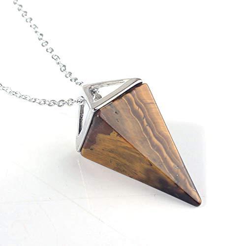 Natürlicher Edelstein Pyramide Anhänger Reiki Kristall Quarz Onyx Halsketten Aufhängung Für Frauen Männer Trendy Schmuck Halskette Länge 50 Cm