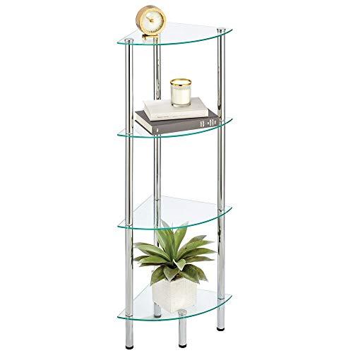 mDesign Household Floor Storage Corner Tower 4 Tier Open Glass Shelves - Compact Shelving Display Unit - Multi-Use Home Organizer for Bath Office Bedroom Living Room - ClearChrome